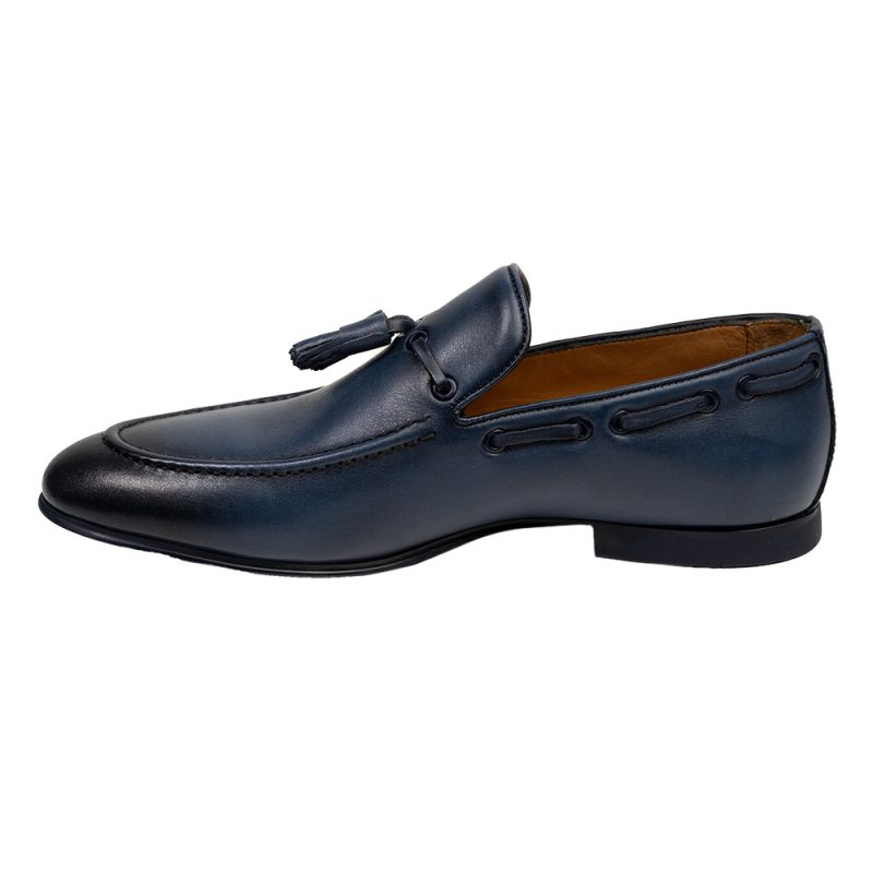 Navy blue leather slip on shoe with tassels
