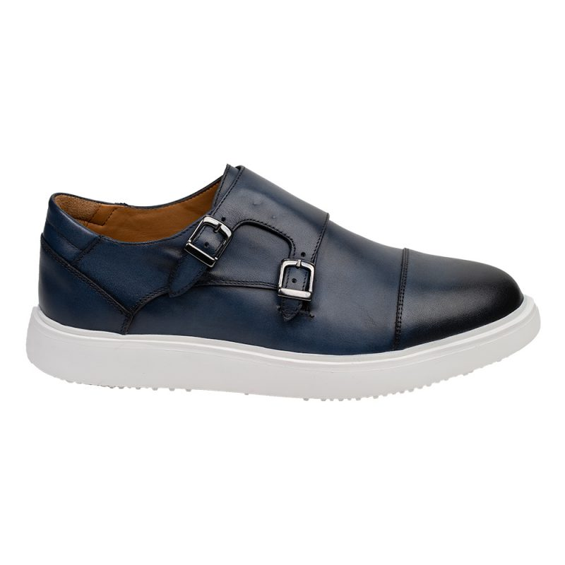 Navy blue monk strap leather casual shoe