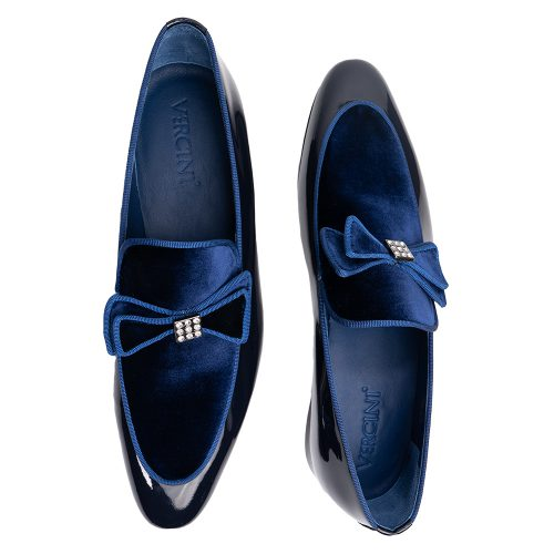 Navy blue patent leather tuxedo slip on with a bow tie