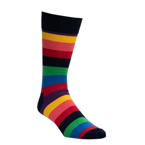 Navy blue socks with multiple colors