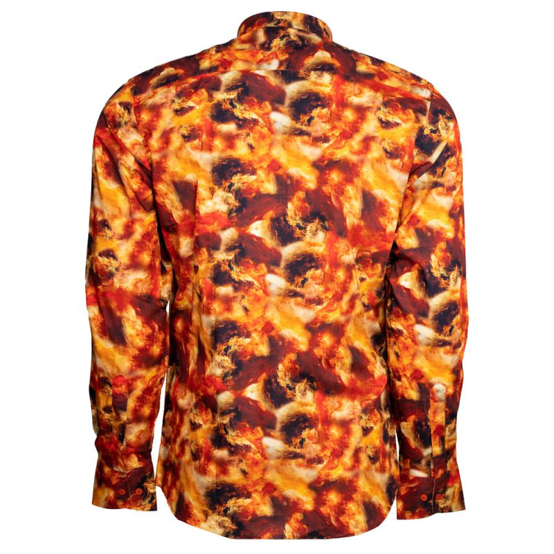 Orange dress shirt with red cloudy pattern back view