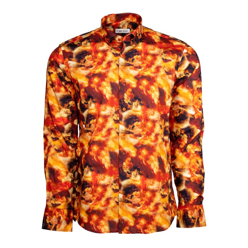 Orange dress shirt with red cloudy pattern