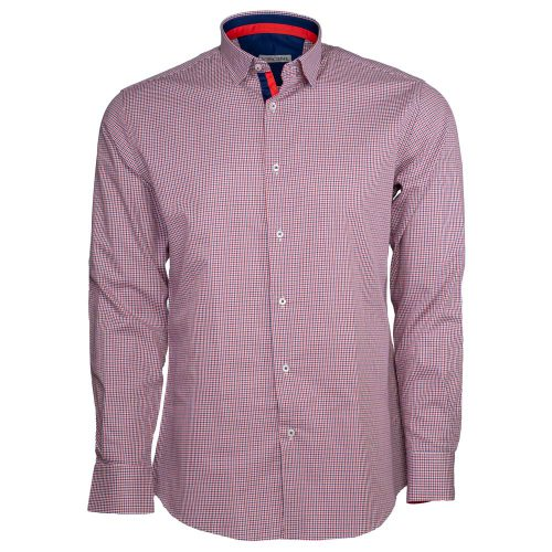 Red and blue dress shirt with houndstooth pattern
