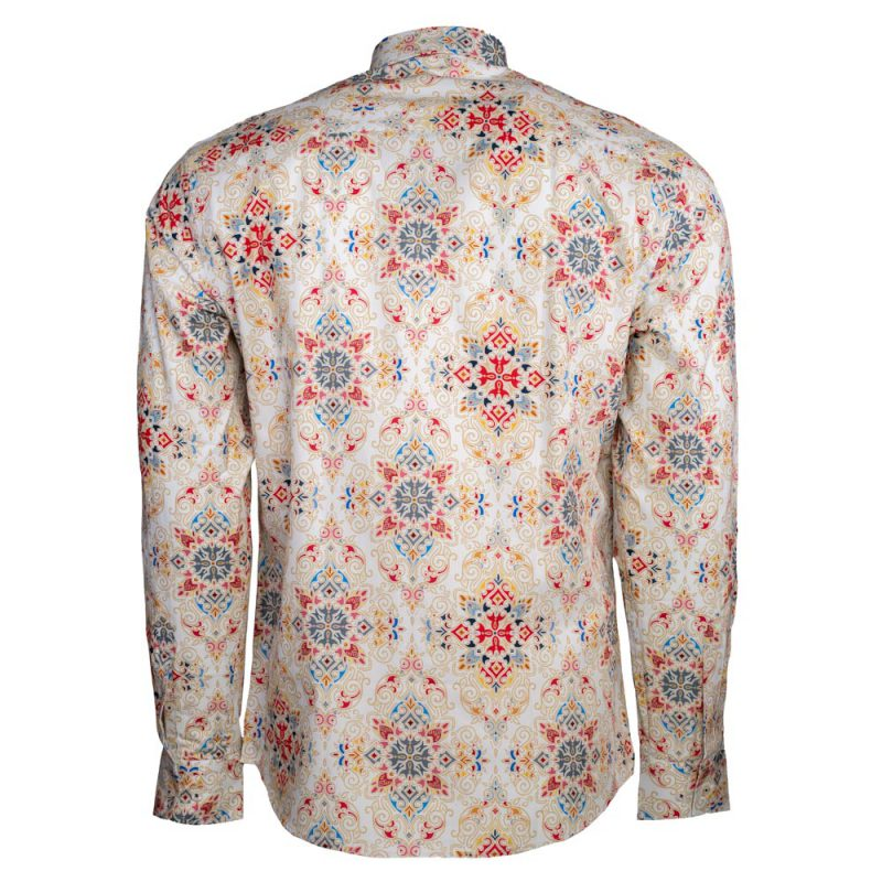 Tan dress shirt with a red and blue design back view