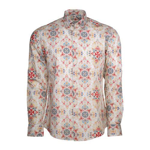 Tan dress shirt with a red and blue design