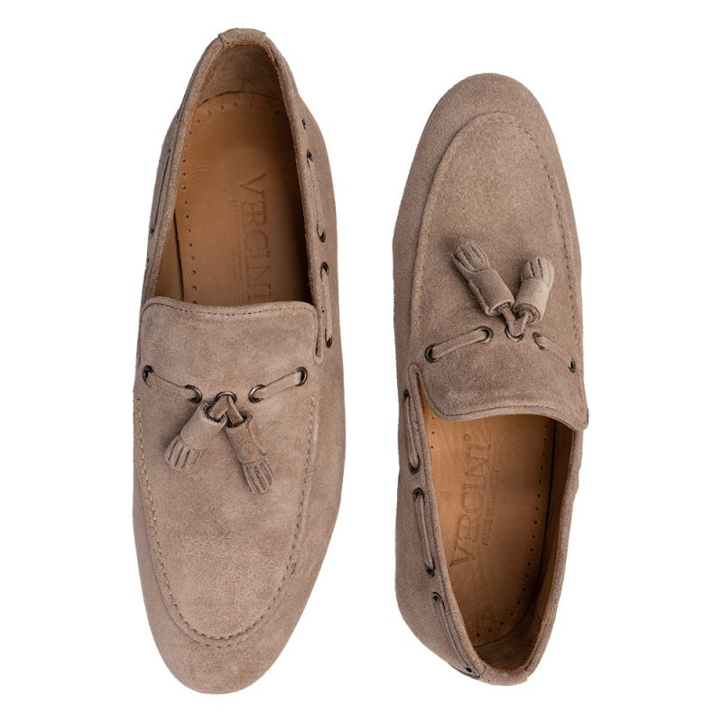 Tan suede slip on with tassels