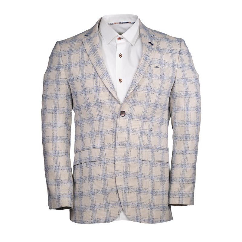 Tan with light blue plaid pattern blazer