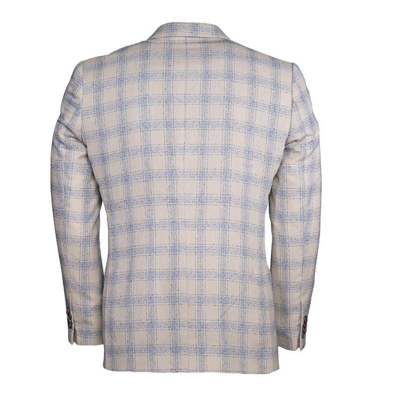Tan with light blue plaid pattern blazer back view