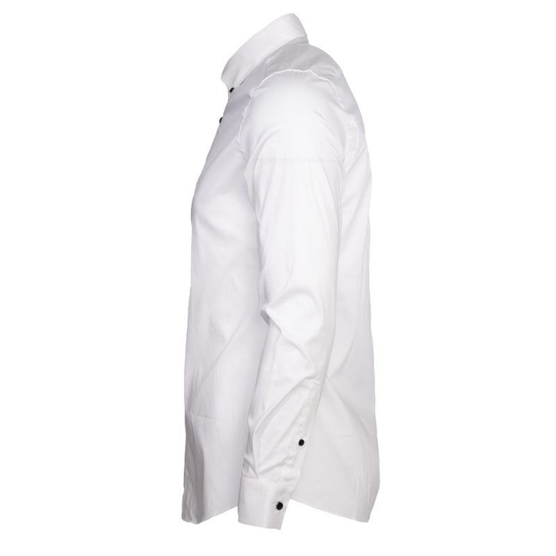 White dress shirt with black button downs side view