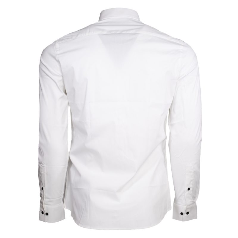 White dress shirt with black button downs back view