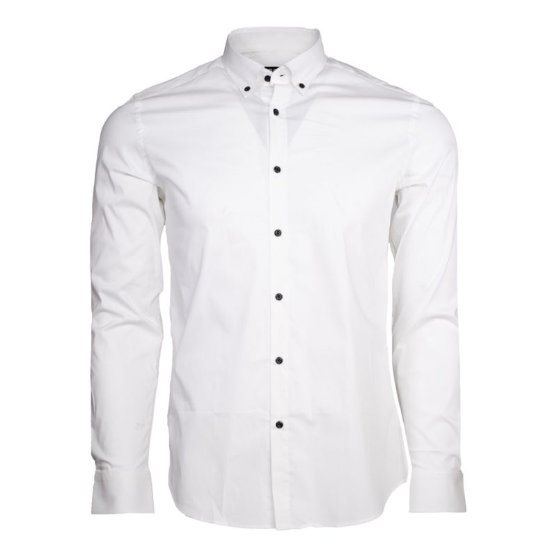 White dress shirt with black button downs
