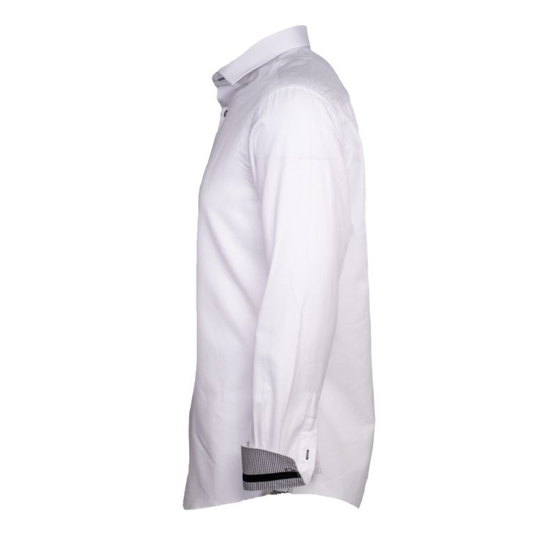 White dress shirt with black buttons side view