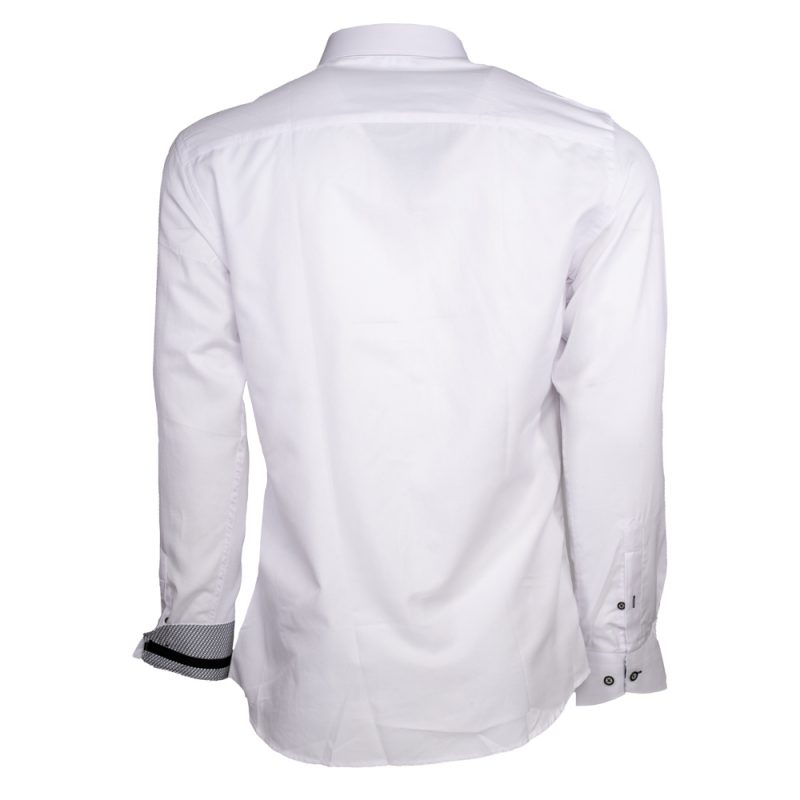 White dress shirt with black buttons back view