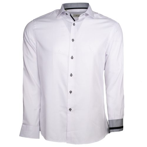White dress shirt with black buttons