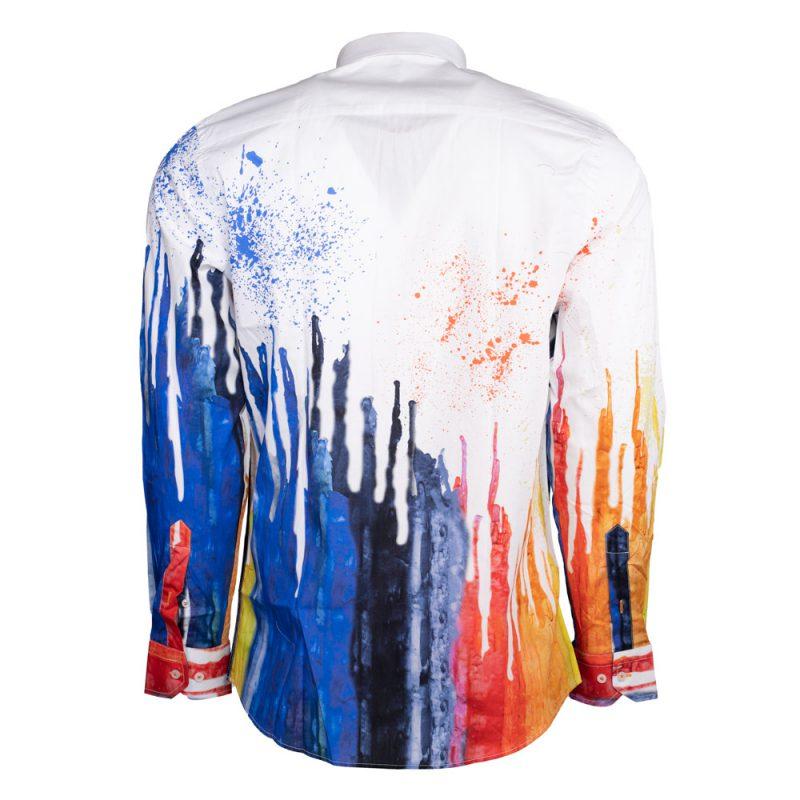 White dress shirt with blue liquid design back view