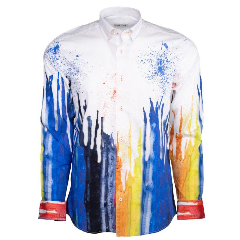 White dress shirt with blue liquid design