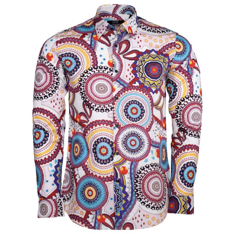 White dress shirt with burgundy and light blue designs