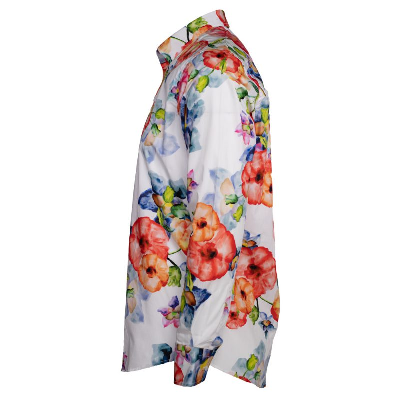 White dress shirt with colorful florals side view