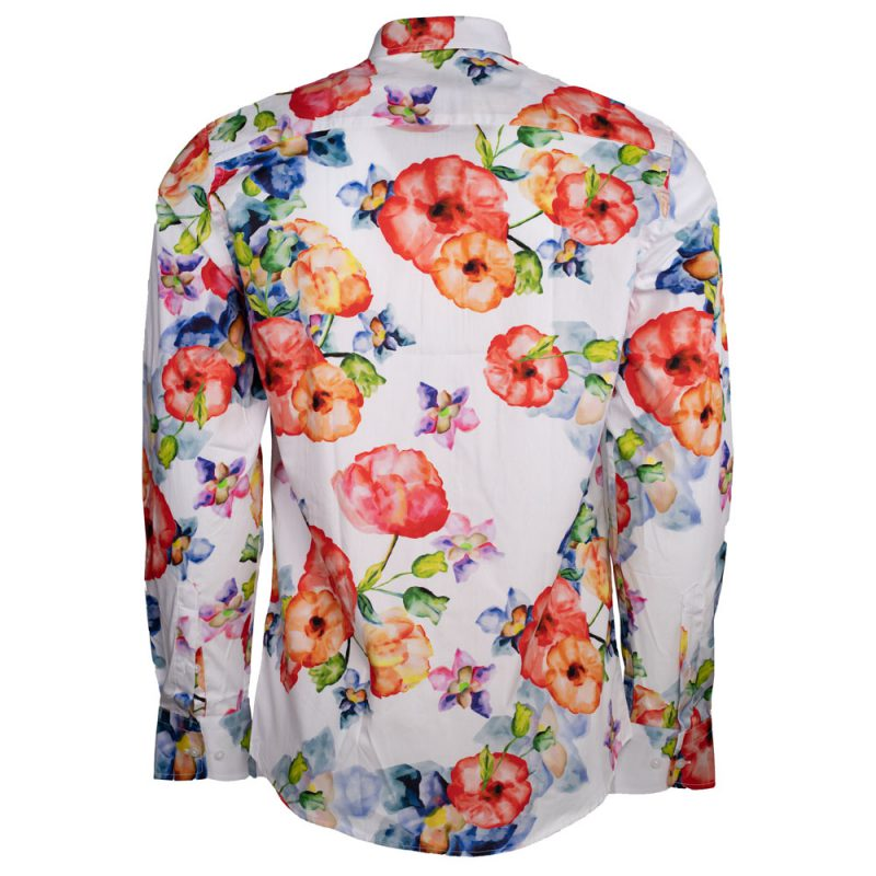 White dress shirt with colorful florals back view