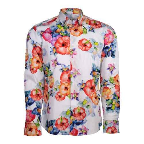 White dress shirt with colorful florals
