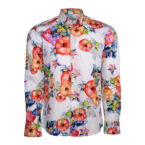 White-dress-shirt-with-colorful-florals-front-page