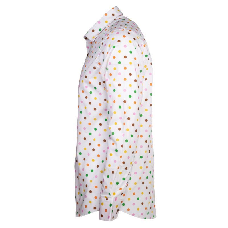 White dress shirt with multiple colored polka dots side view