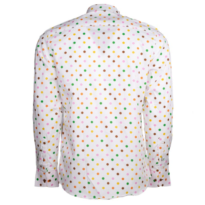 White dress shirt with multiple colored polka dots back view