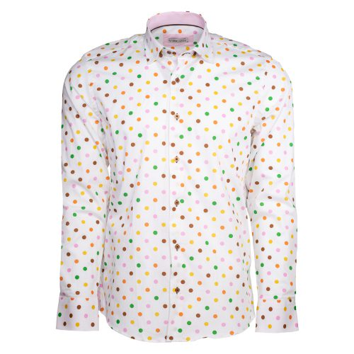 White dress shirt with multiple colored polka dots