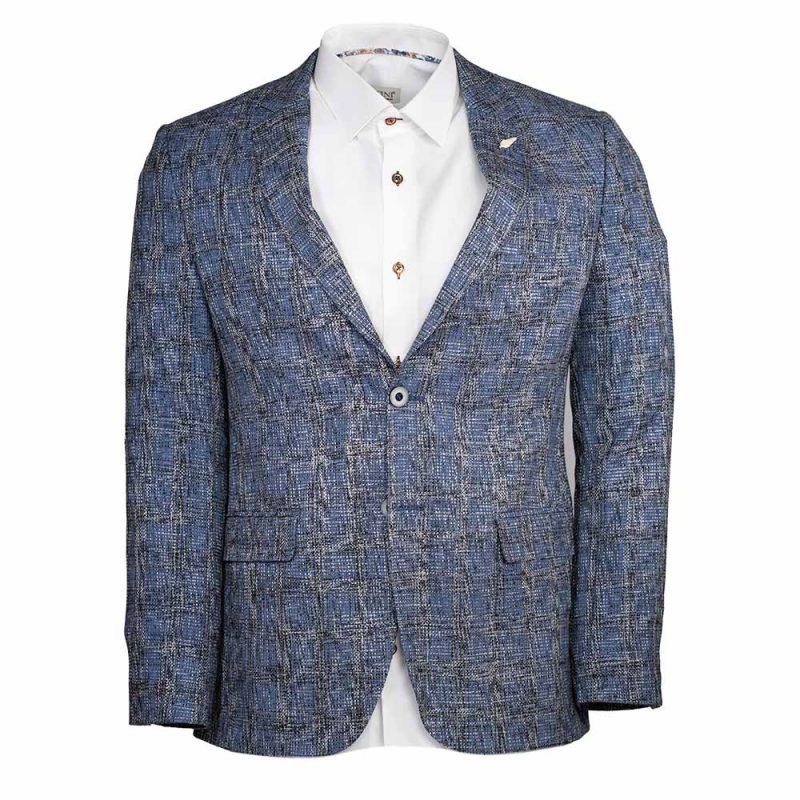 blue blazer with window pane
