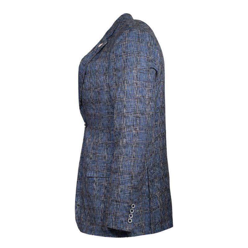 blue blazer with window pane side view