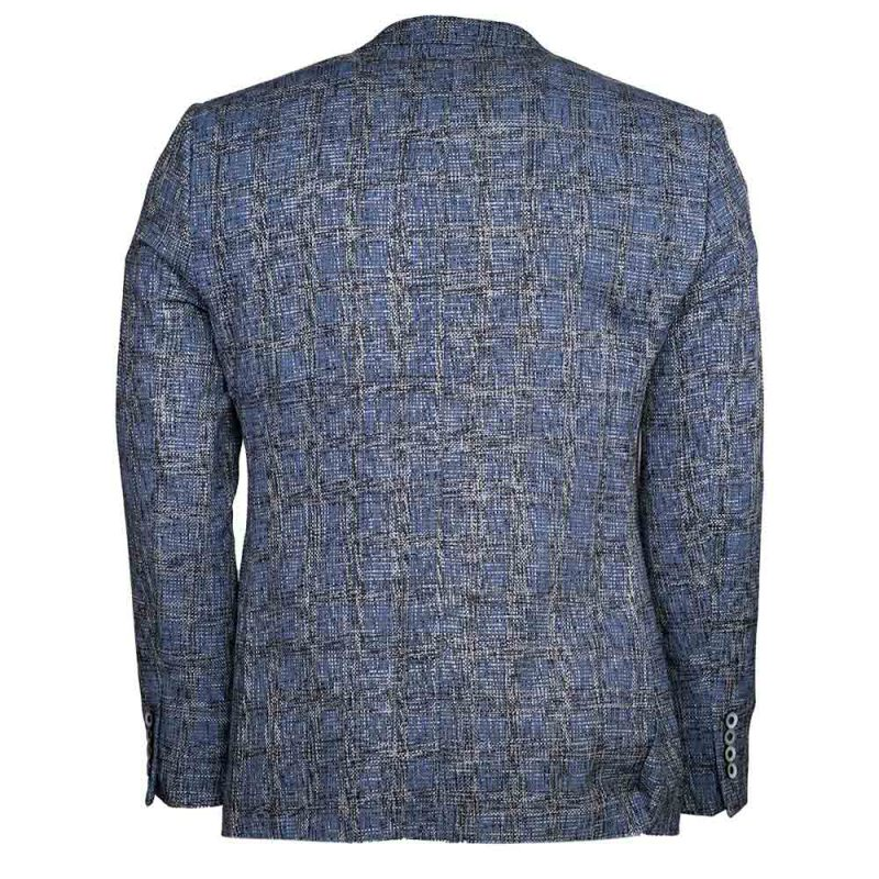 blue blazer with window pane back view