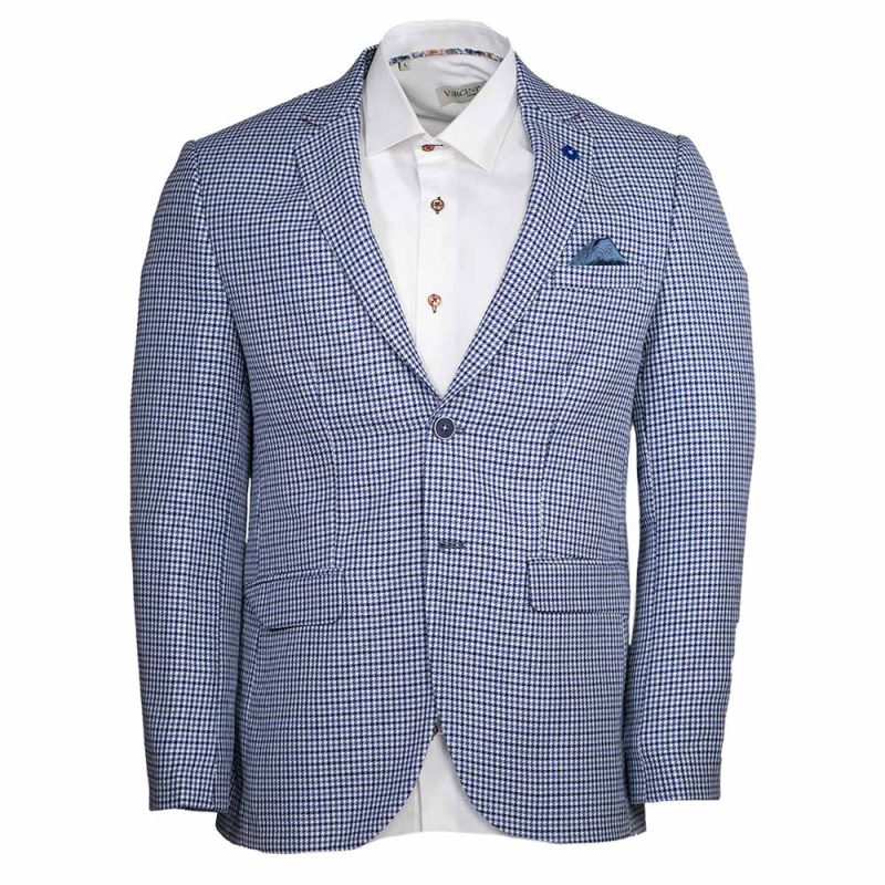 light blue blazer with houndstooth pattern