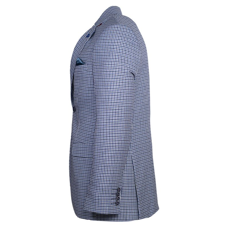 light blue blazer with houndstooth pattern side view