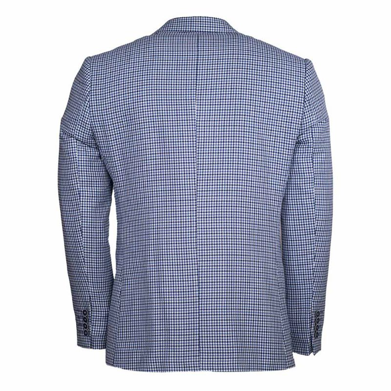light blue blazer with houndstooth pattern back view