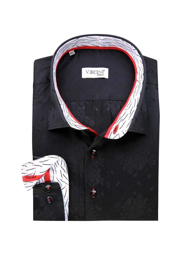 Black shirt subtle leaf design
