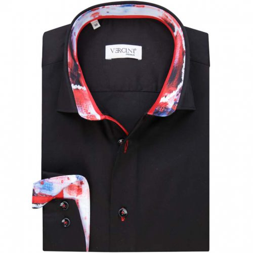 Black shirt with a colorful collar