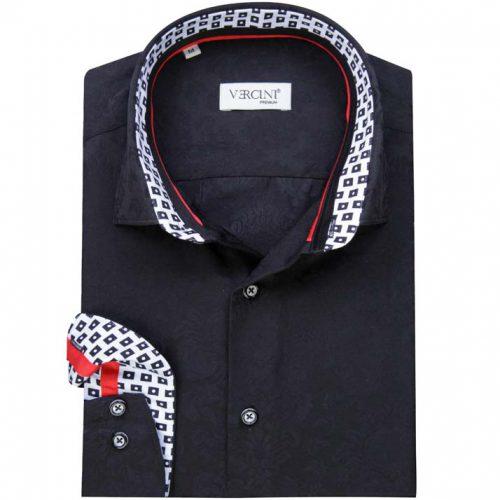 Black shirt with a subtle leaf pattern