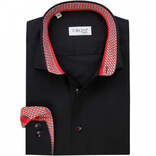 Black shirt with white and red collar