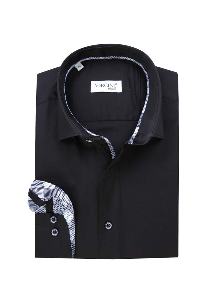 Black shirt with white buttons