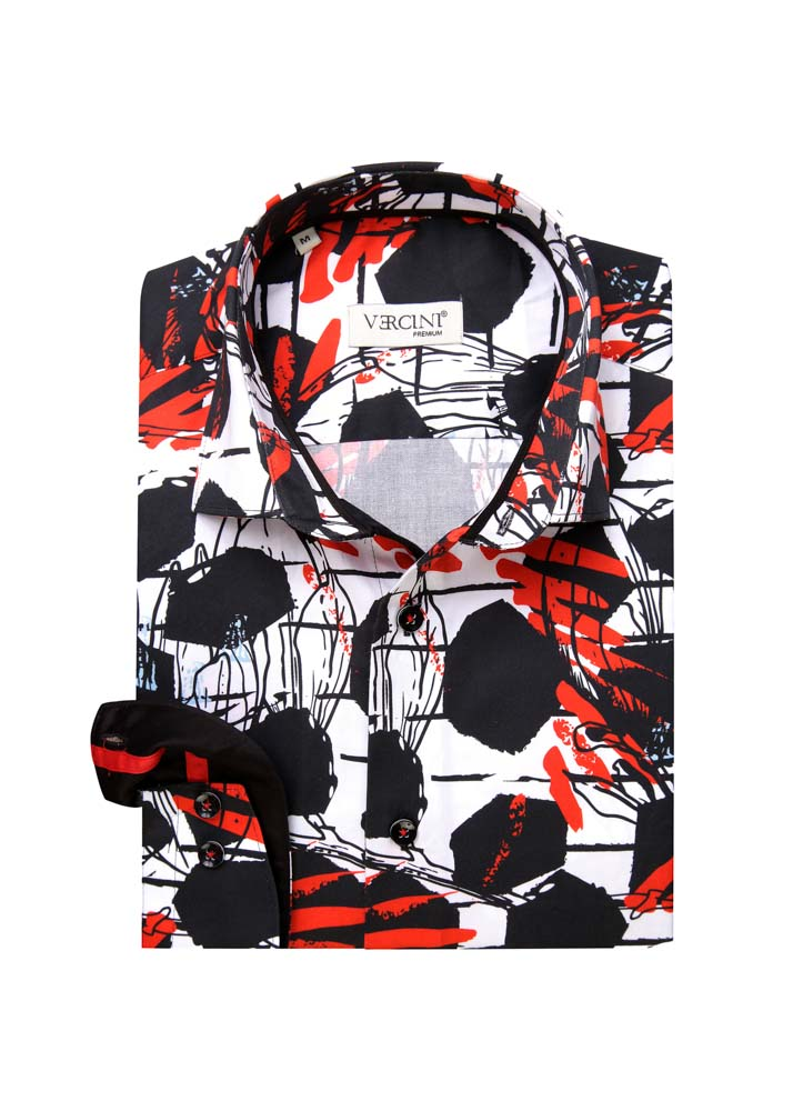 Black white and red pattern design