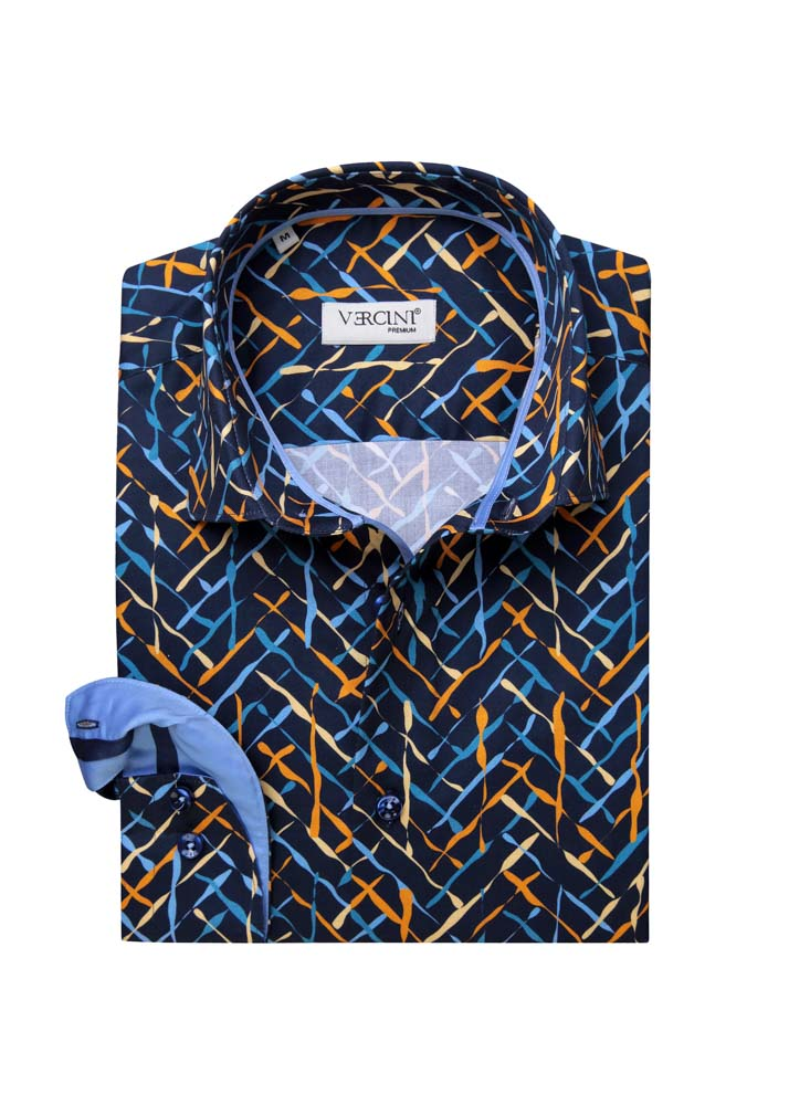 Blue shirt with light blue and yellow drips
