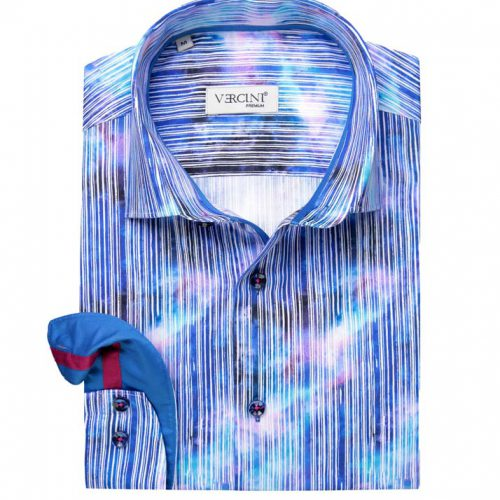 Blue striped shirt with faded color
