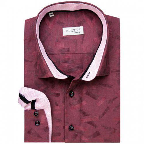Burgundy shirt with light burgundy collar