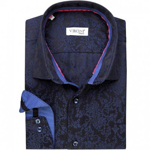 Dark blue shirt with leaf design