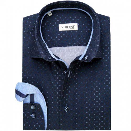 Dark blue shirt with light blue streaks