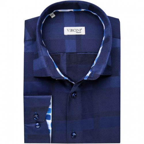 Dark blue shirt with square patterns