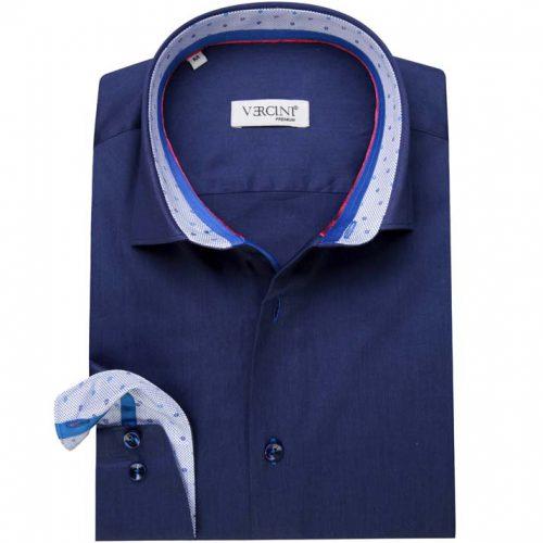 Dark blue shirt with white inside collar