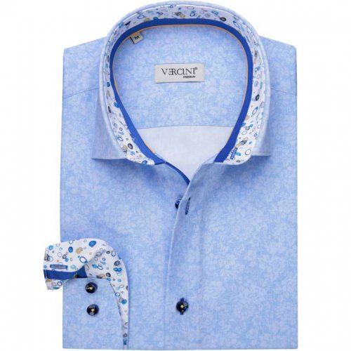 Light blue shirt with a subtle floral design