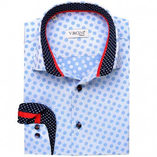 Light blue shirt with dots and dark blue collar