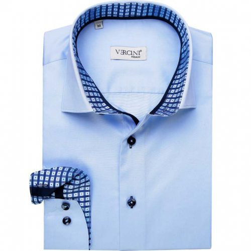 Light blue shirt with squares in collar
